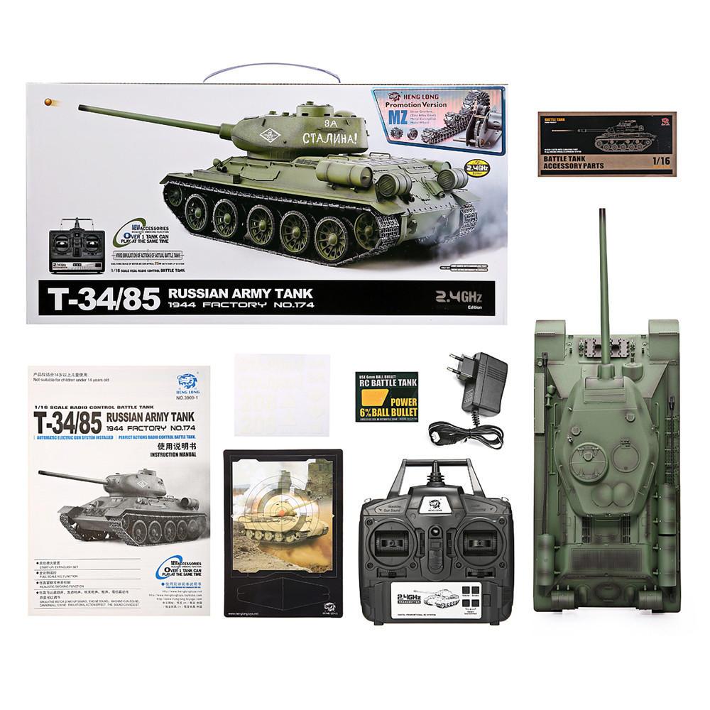 Heng Long 3909-1 1/16 2.4G T-34 Rc Car Battle Tank Metal Track W/ Sound Smoke Toy