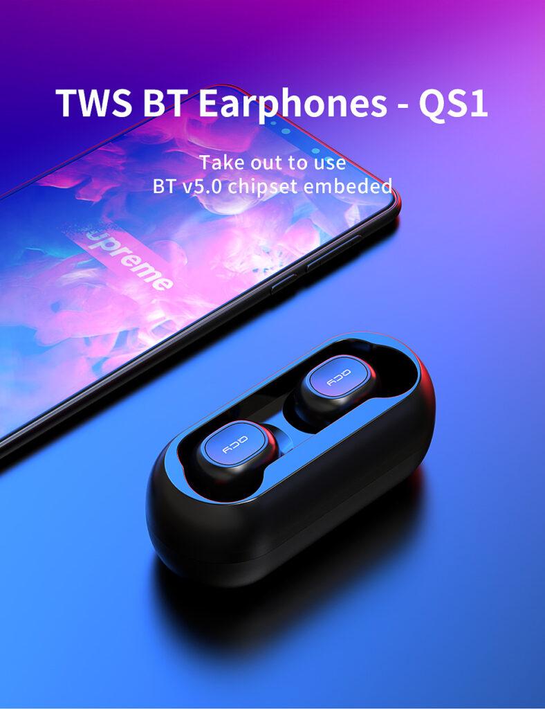 QCY QS1 T1C Mini Dual V5.0 Wireless Earphones Bluetooth