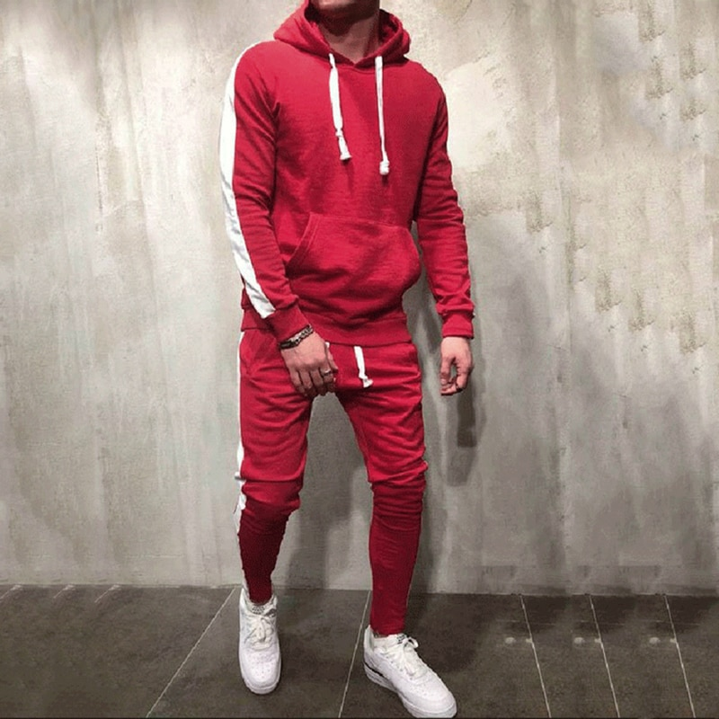 Men's Sets AliExpress Autumn Winter Hooded Sweatshirt +Drawstring Pants Male