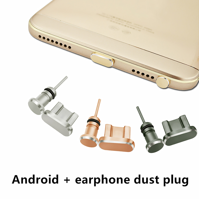 CatXaa Metal Micro USB Charging Port + Earphone Port Dust Plug Android Mobile Phone 3.5mm Headset Stopper Retrieve Card Pin