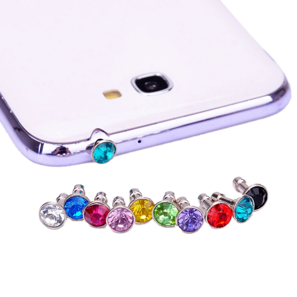 JINHF 10pcs Bling Universal 3.5mm Cell Phone Earphone Plug For iPhone 6 5s /Samsung /HTC Sony Dust Plug Headphone Jack Stopper