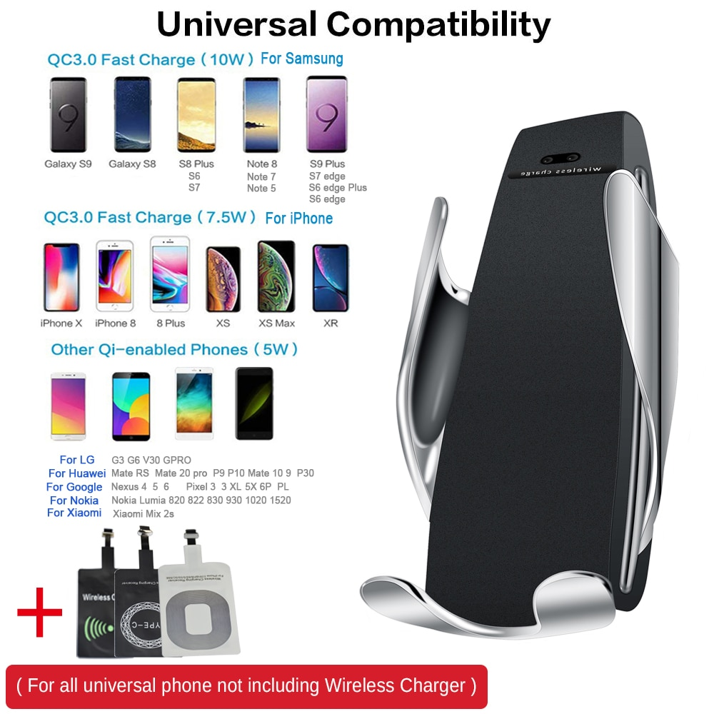 10W Wireless Car Charger S5 Automatic Clamping Fast Charging Phone Holder Mount in Car