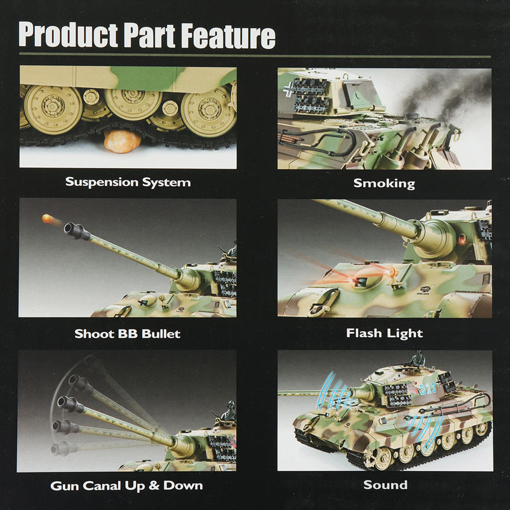 Henglong 3888A -1 1/16 2.4G German Tiger King Henschel Rc Battle Tank Smoking Sound Plastic One Toys