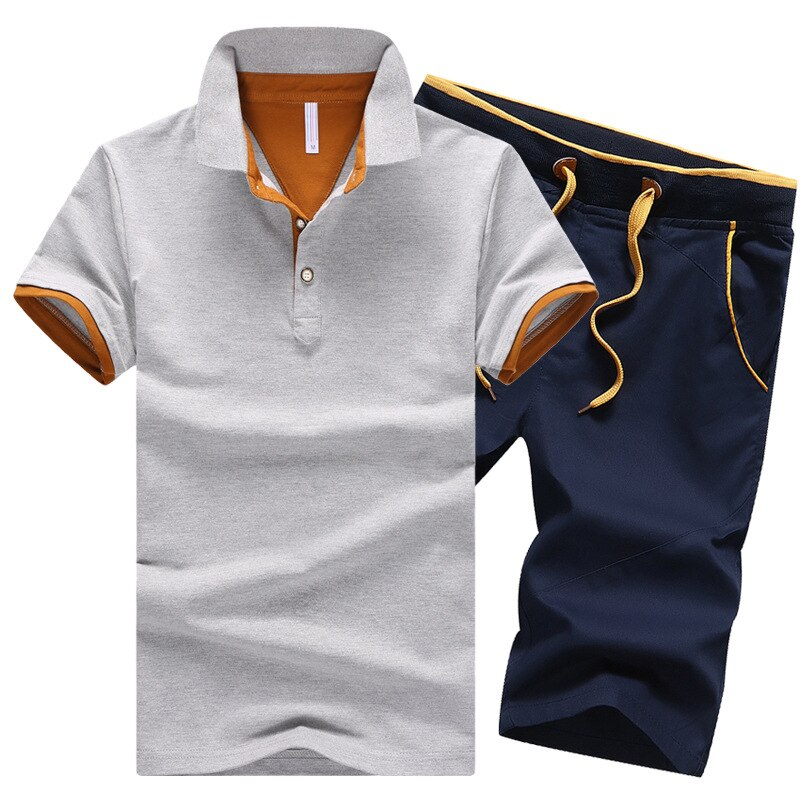 Summer Button Polo Shirts Sets Turn Down
