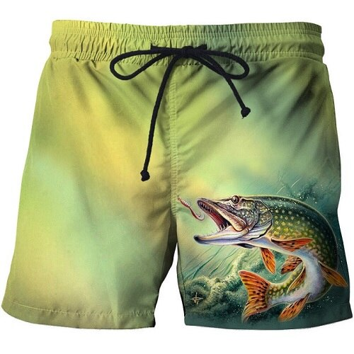 Fish 3 d printing Mens Swim Shorts Surf Wear Board Shorts