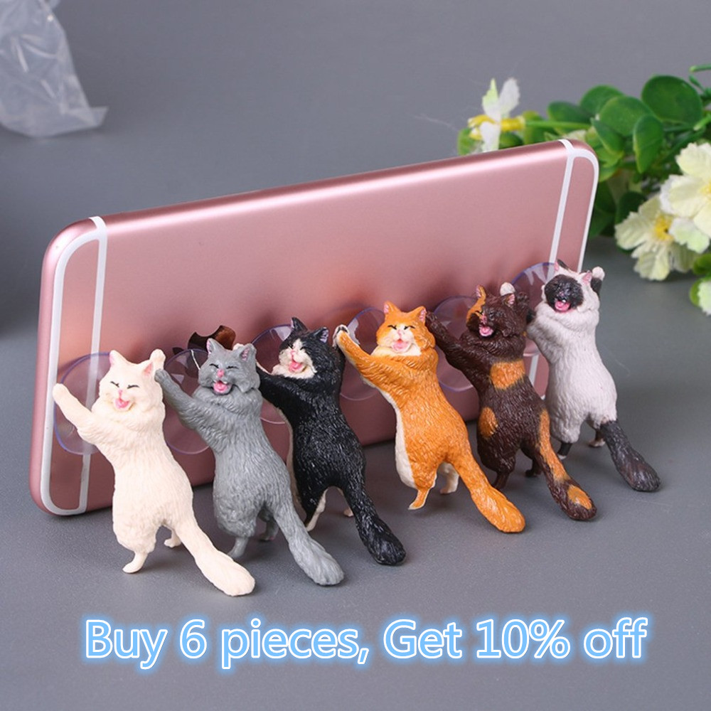 hone Holder Cute Cat Support Resin Mobile Phone Holder Stand Sucker Tablets Desk