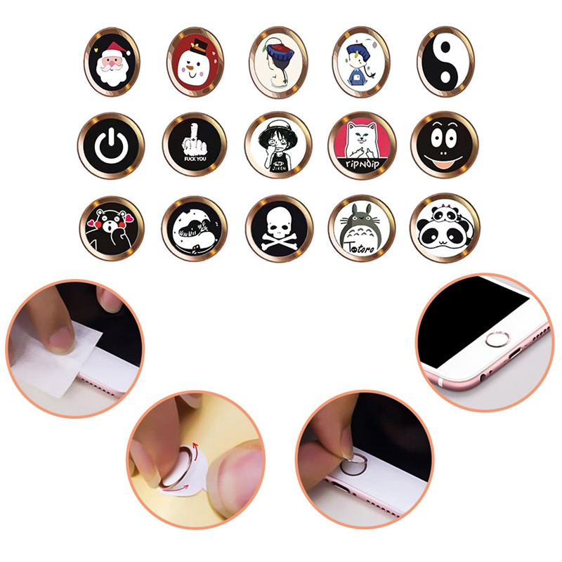 Cartoon cute Touch ID Home Button Sticker For iPhone 5 5S SE 6 6S 7 8 Plus For Ipad air 2