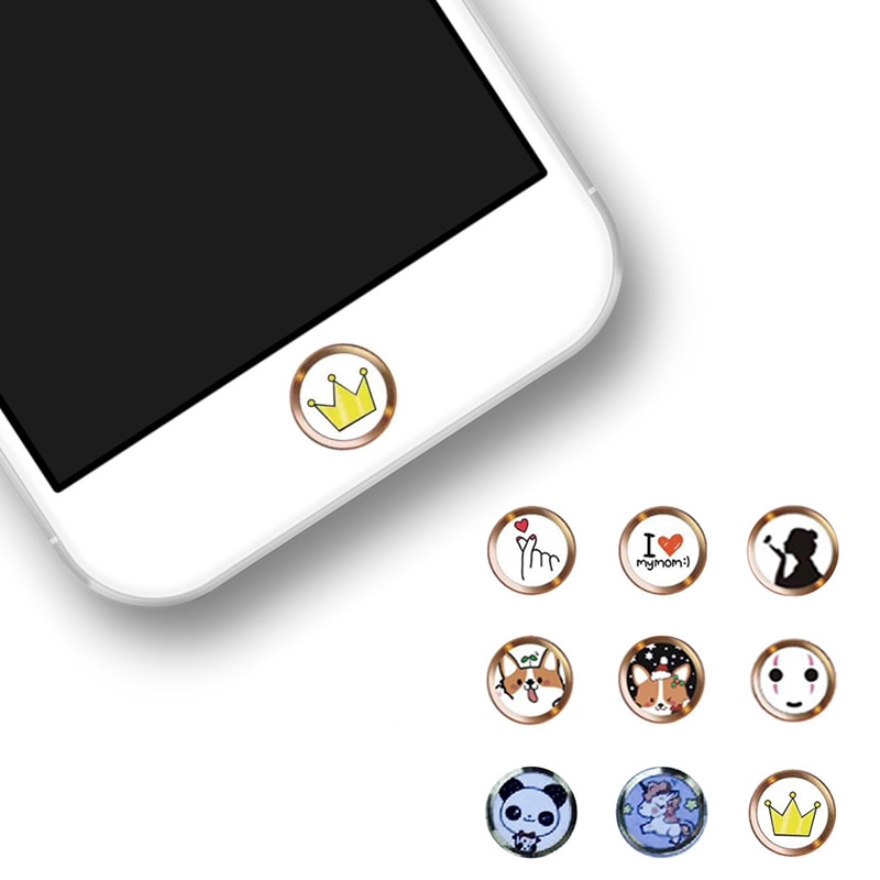 Cartoon cute Touch ID Home Button Sticker For iPhone 5 5S SE 6 6S 7 8 Plus For Ipad