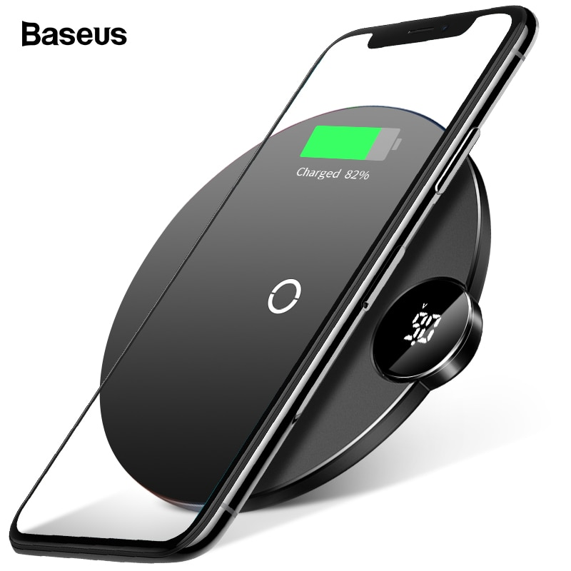 Baseus LED Qi Wireless Charger For iPhone Xs Max X 8 10W Fast Wirless