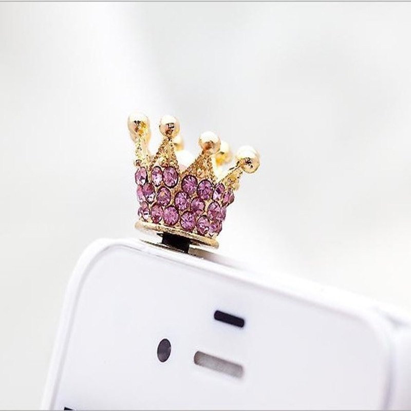 Rhinestone Shiny Zircon Stone Crown Fashion Phone Dust Plug
