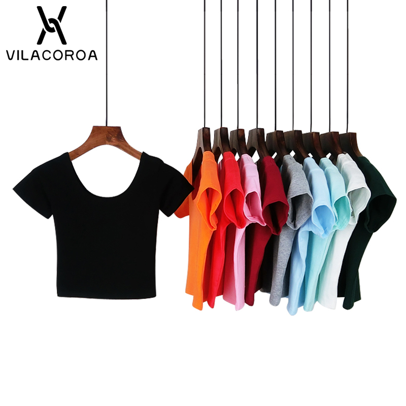 VILACOROA Best Sell U neck Sexy Crop Top Ladies Short Sleeve T Shirt