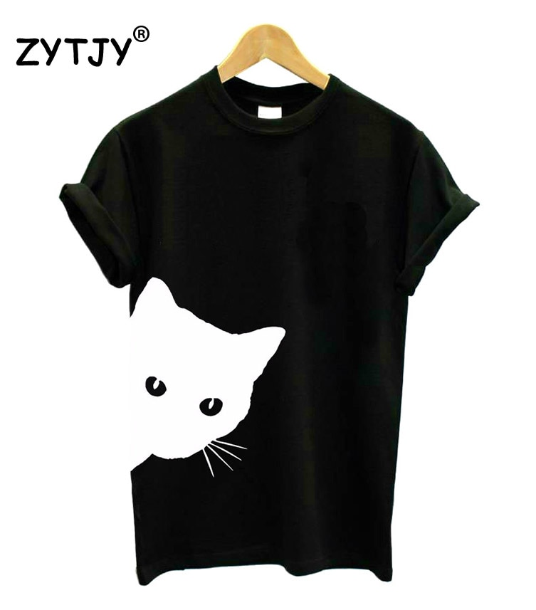 cat looking out side Print Women tshirt Cotton Casual