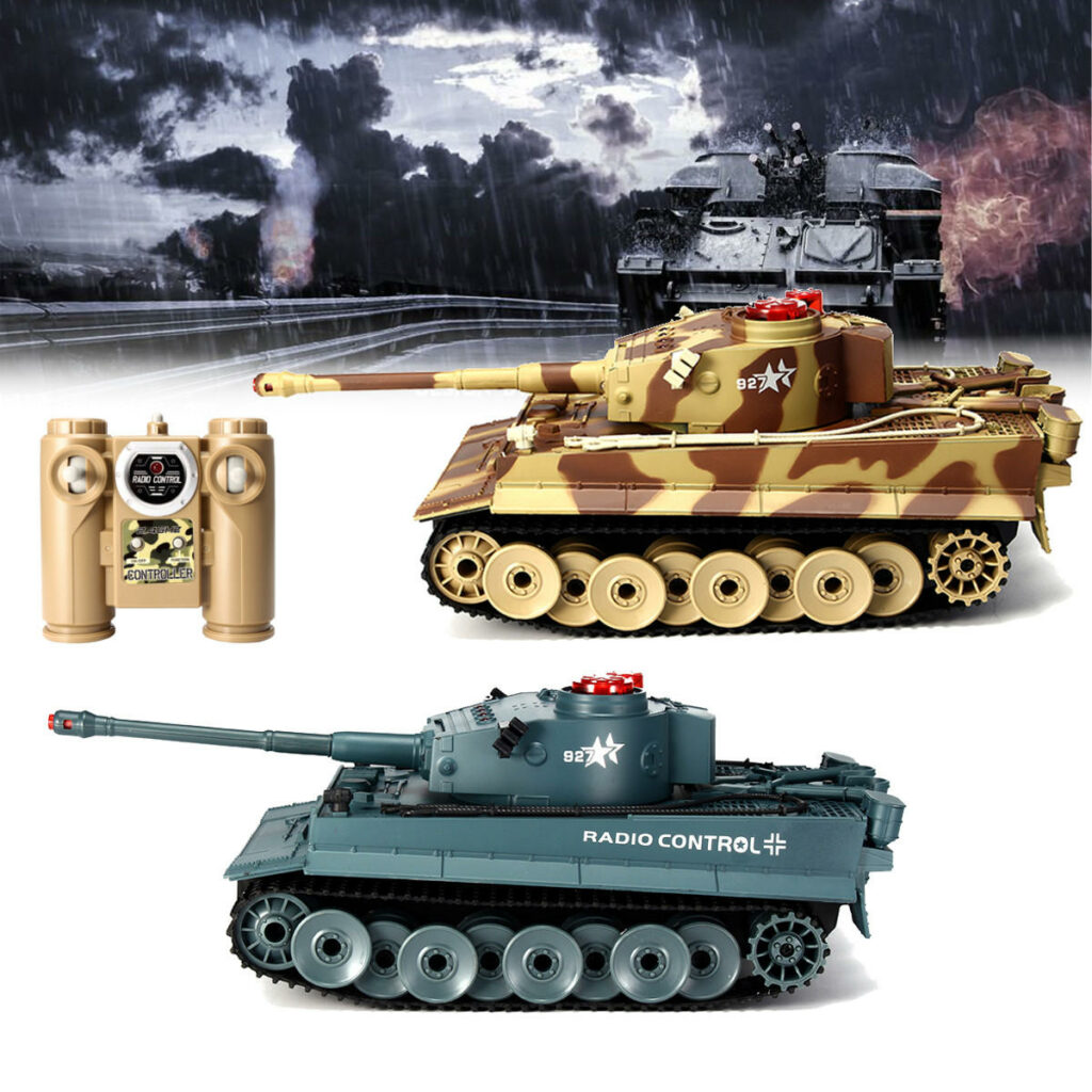 HUANQI 518 1/24 27MHZ 40MHZ RC Car Battle Tank Wireless Infrared Game Against Toys - Desert