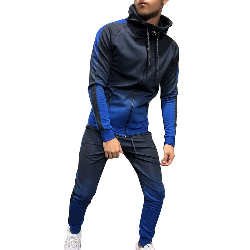 Sporting 2 Pieces Sweatsuit Men Clothes Printed Hooded Hoodies Jacket Pants Track Suits Male