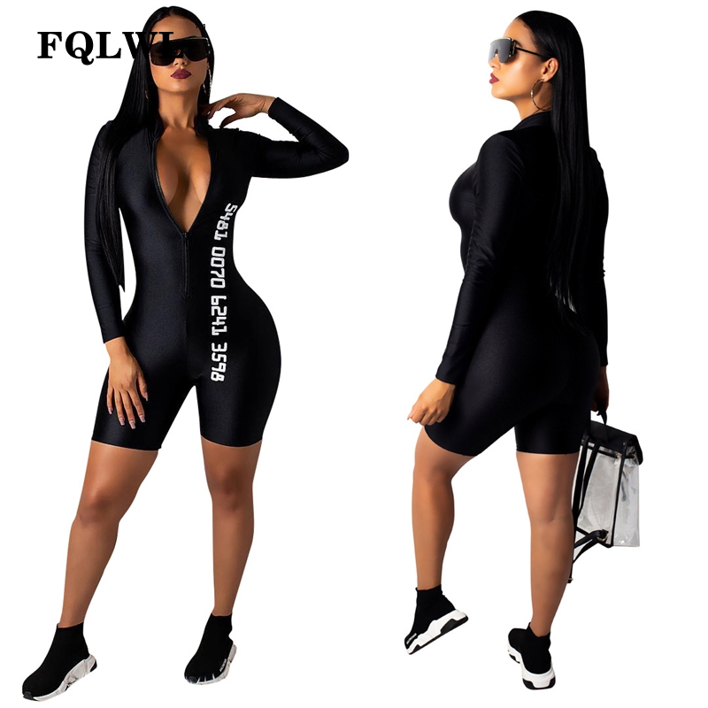FQLWL Black Bodycon Sexy Jumpsuit Shorts For Women