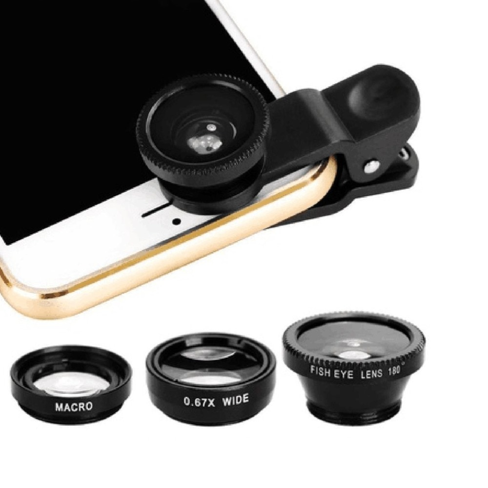 Mobile Phone Lenses AliExpress 3-in-1 Wide Angle Macro Fisheye Lens Camera Kits