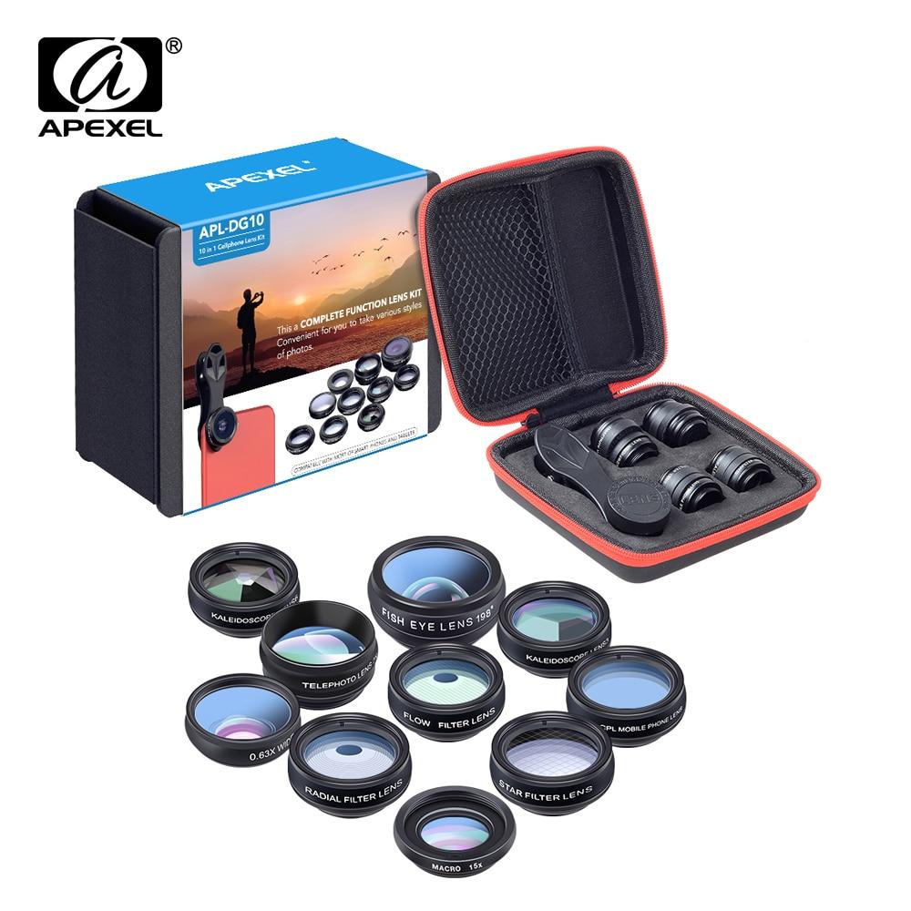 APEXEL Phone lens kit universal 10 in 1 Fisheye Wide Angle macro Lens CPL Filter