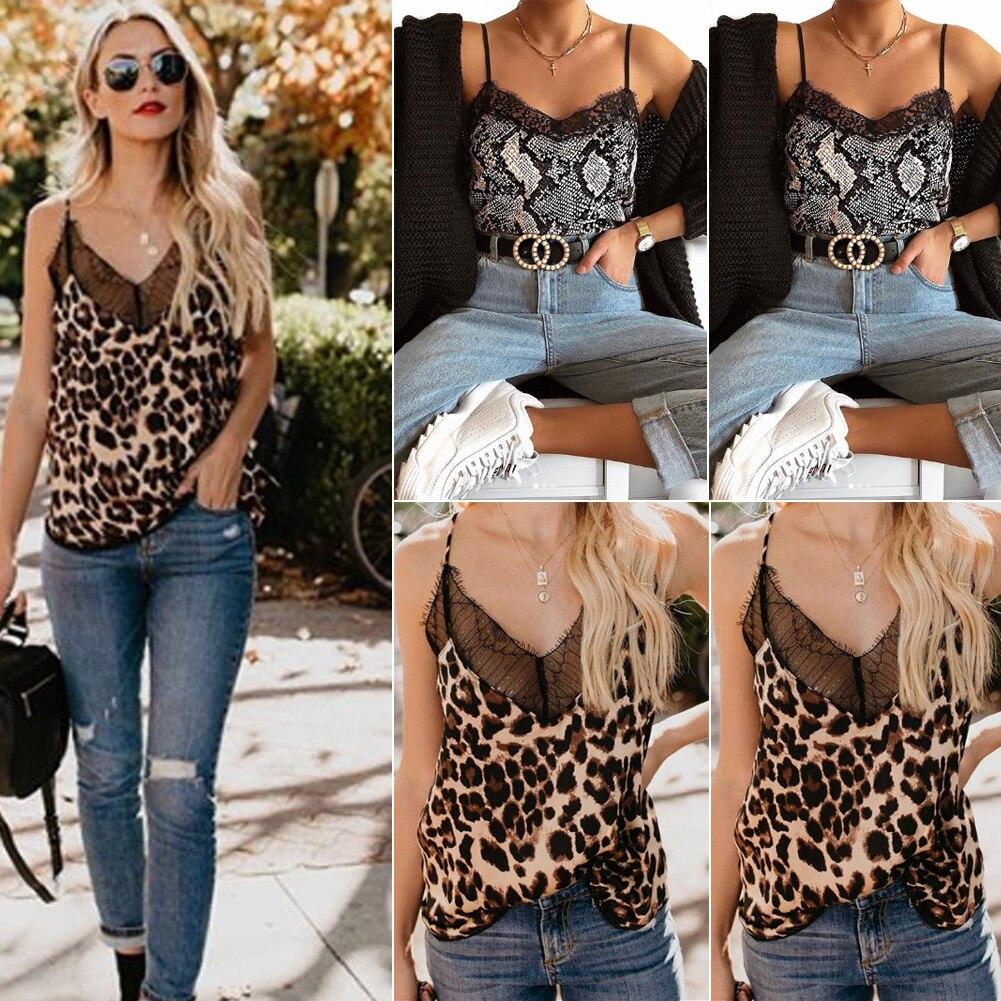 Women's Clothing Camis Women Sexy Sleeveless V Neck Leopard Print Camis