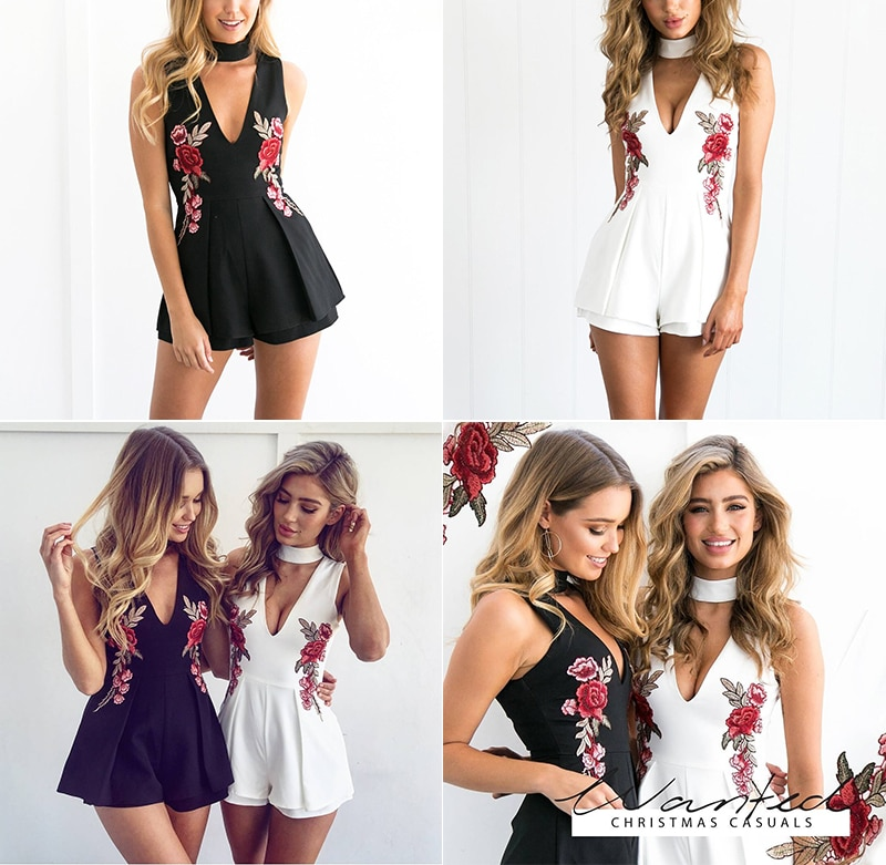 Conmoto Summer Elegant V Neck Floral Women Playsuit