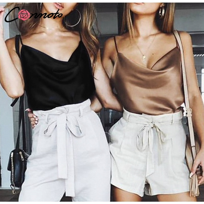Women's Clothing Camis Satin Women Solid Camis Top Spaghetti Strap Summer