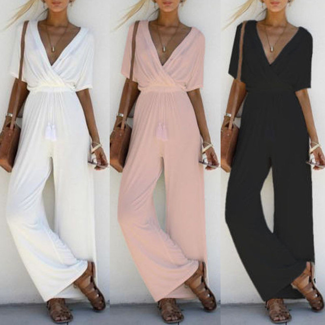 2018 Women Jumpsuit Romper Short Sleeve