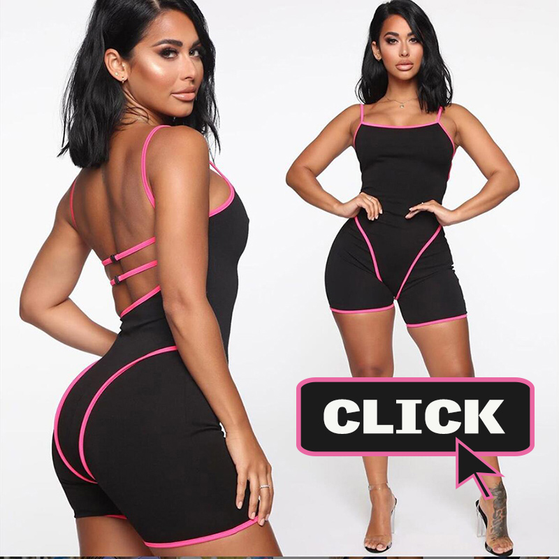 Simenual Casual Sporty Active Wear Backless Playsuit