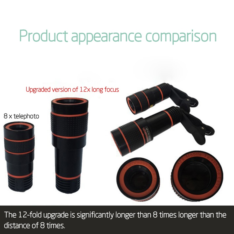 Clip-on 12x Optical Zoom Mobile Phone Telescope Lens HD Telescope Camera Lens