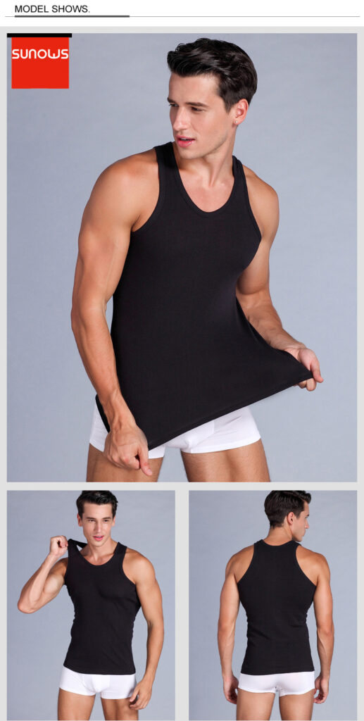 Men's Tank Tops Close-fitting Vest Fitness Elastic Casual O-neck Breathable H Type