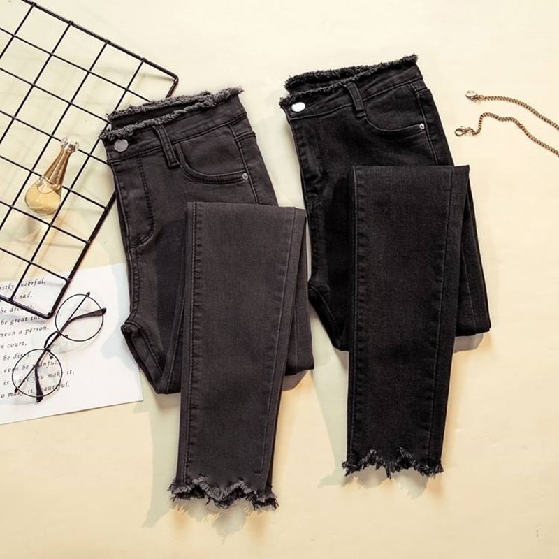 JUJULAND 2018 Jeans Female Denim Pants Black Color