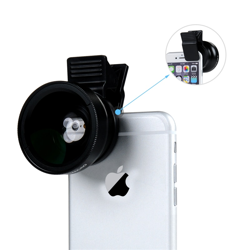 TURATA 0.45X Wide Angle+12.5X Macro Lens Professional HD Phone Camera Lens