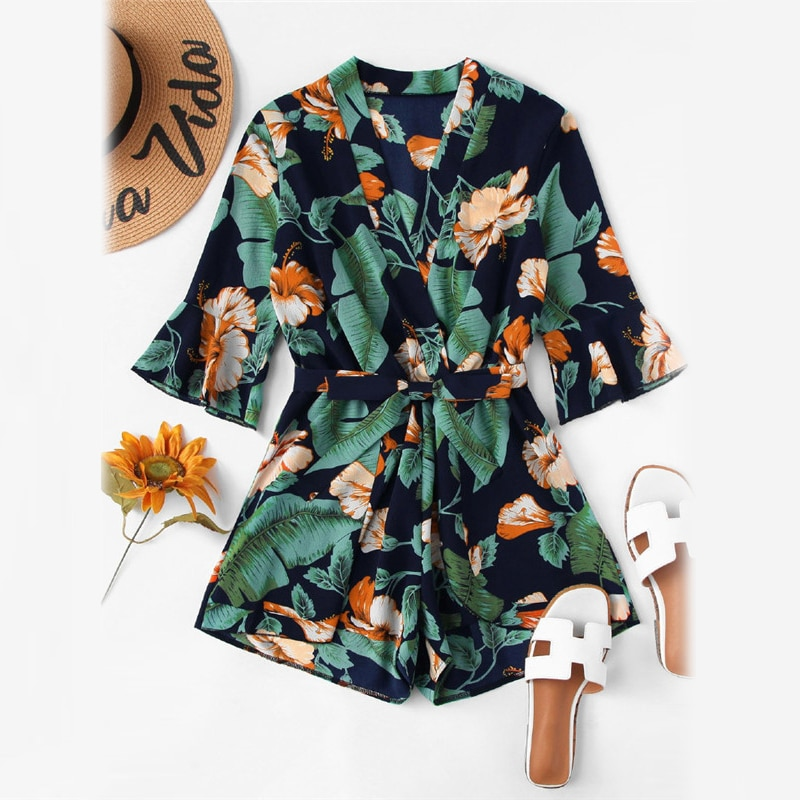 ROMWE Fluted Sleeve Floral Print Surplice Romper