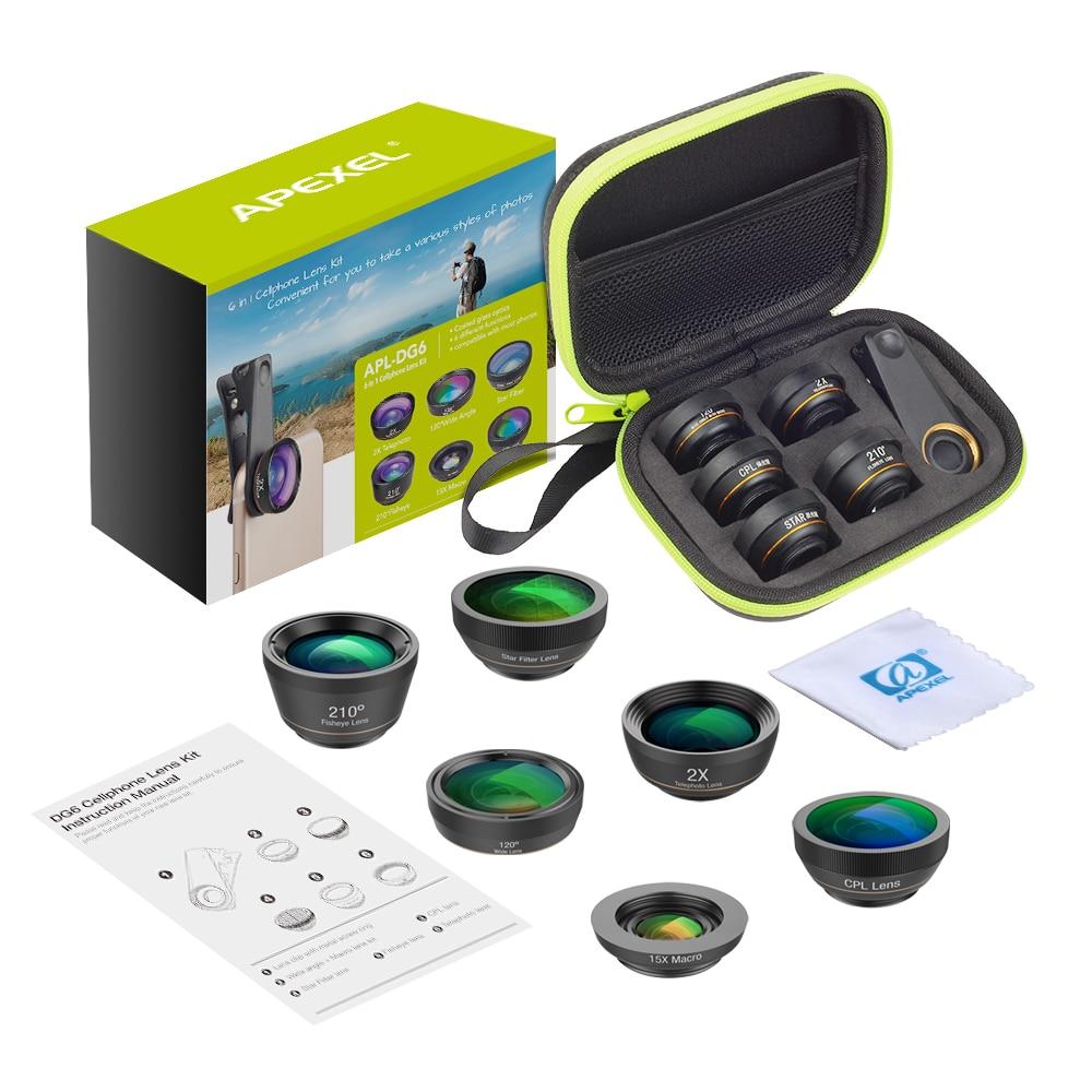 APEXEL Universal 6 in 1 Phone Camera Lens Fish Eye Lens Wide Angle macro Lens