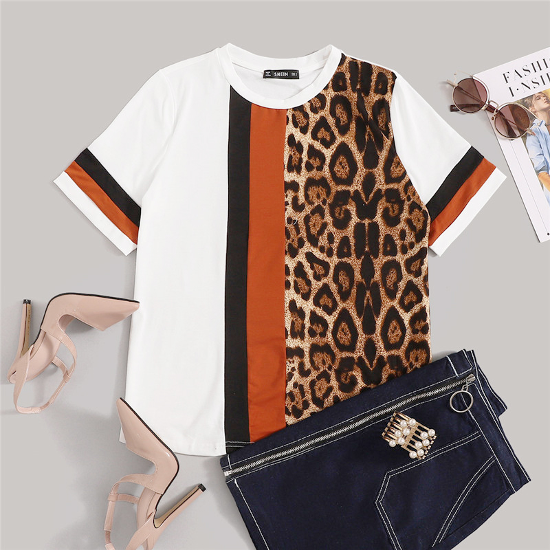 SHEIN White Color Block Cut-and-Sew Leopard Panel Top