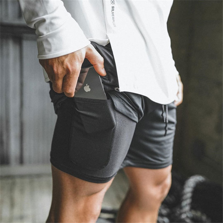 Joggers Shorts Mens 2 in 1 Short Pants Gyms Fitness Bodybuilding