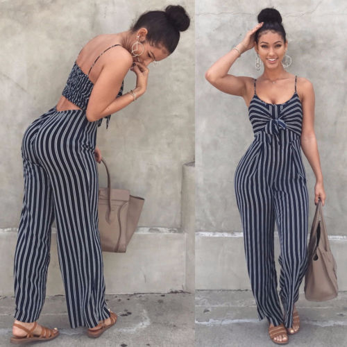 Jumpsuits AliExpress Hirgin Ladies Women Striped Bow Clubwear