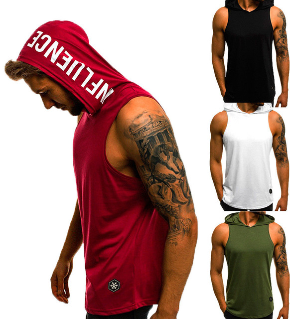 Men's Cotton Sleeveless Hoodie Bodybuilding Workout