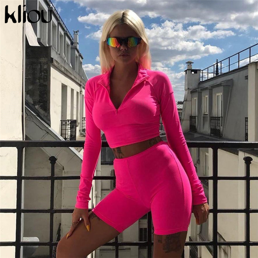 Suits & Sets AliExpress Kliou New Female Fluorescence Fitness Two Pieces Sets