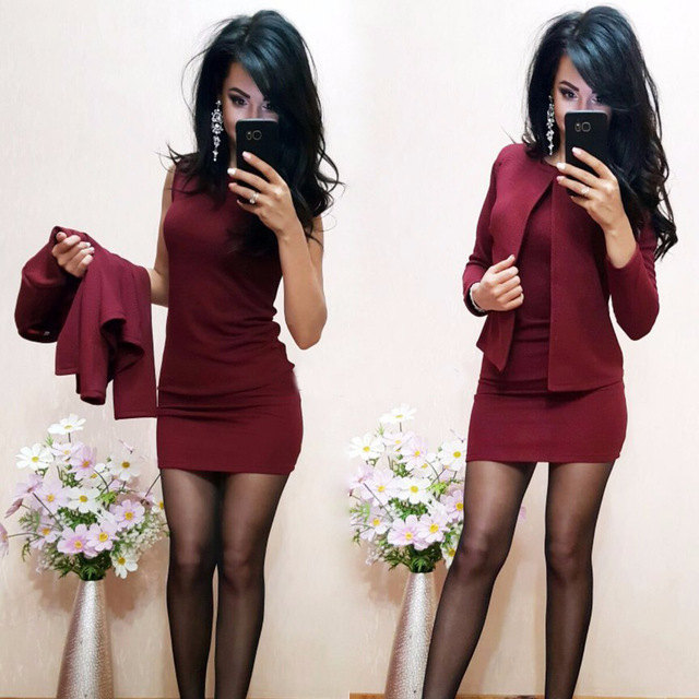 2018 New Arrival Fashion Autumn Suits Sexy Sheath O-Neck