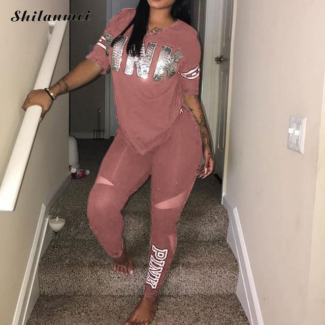 Pink Letter Print Tracksuits Women Two Piece Set 2018