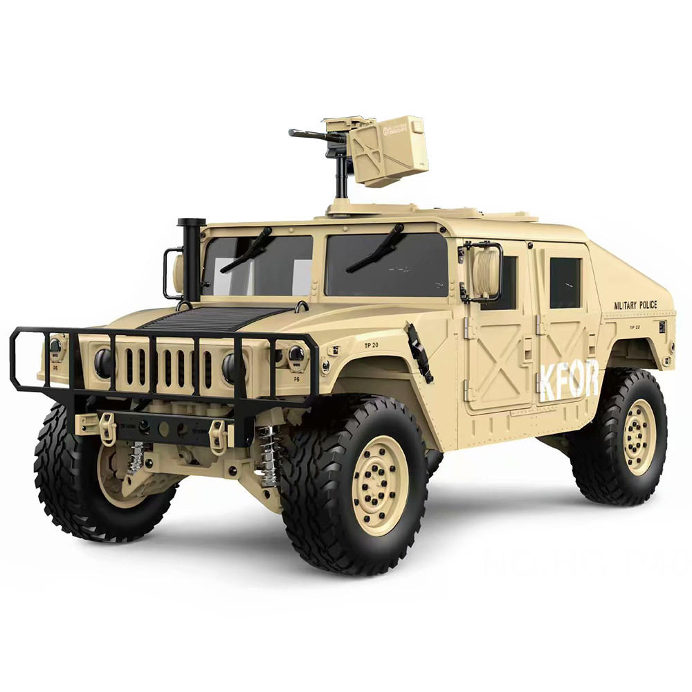 HG P408 1/10 2.4G 4WD 16CH 30km/h Rc Model Car U.S.4X4 Military Vehicle Truck without Battery Charger - Yellow