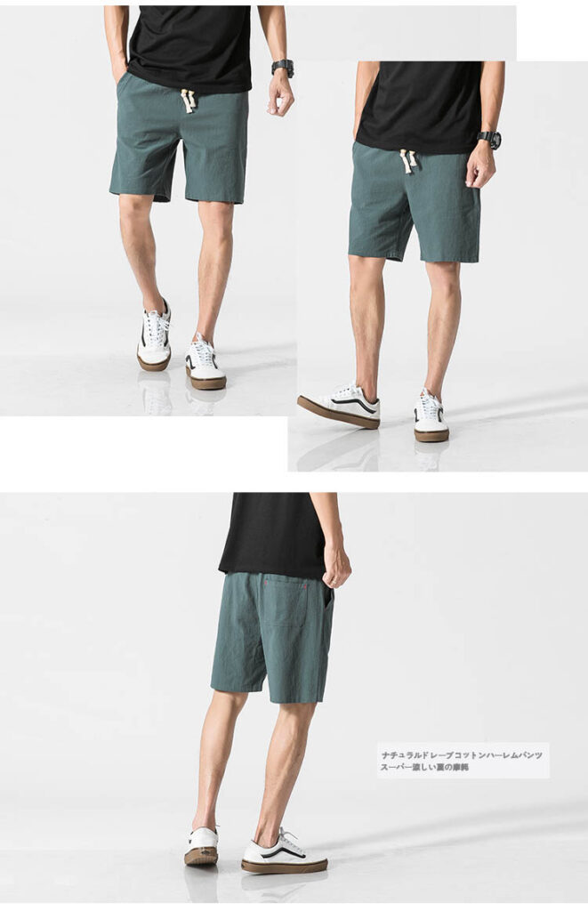 Summer New Cotton Shorts Loose Men's Casual Shorts Black White