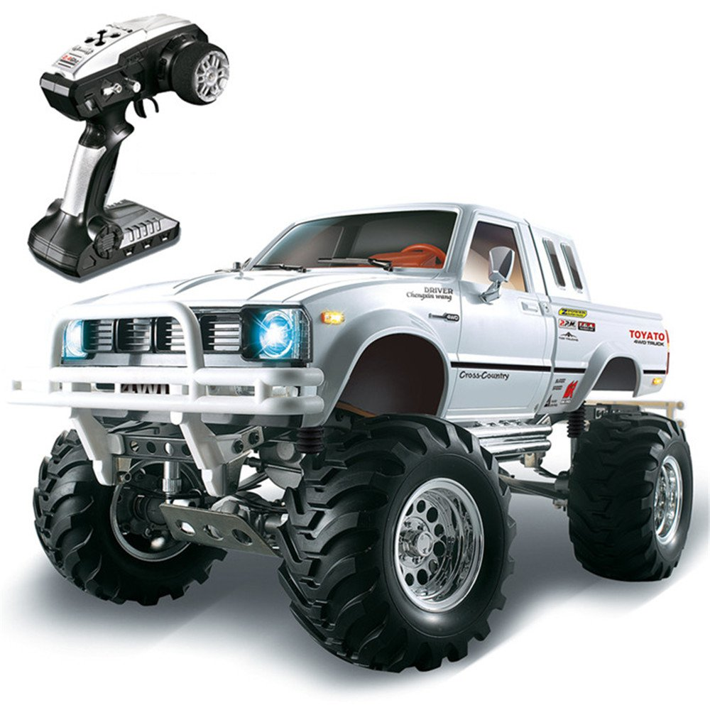 HG P407 1/10 2.4G 4WD Rally Rc Car for TOYATO Metal 4X4 Pickup Truck Rock Crawler RTR Toy - white