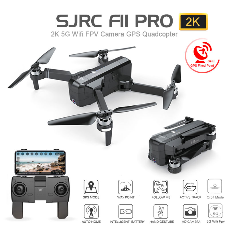 SJRC F11 GPS 5G Wifi FPV With 1080P Camera 25mins Flight Time Brushless Selfie RC Drone Quadcopter - Black 1080P One Battery Without Storage Bag
