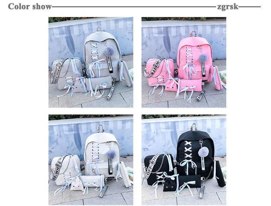 Chain USB Backpack Women Canvas 5pcs/set Women Backpack
