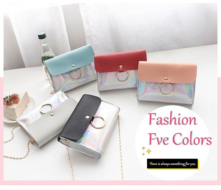 Laser Crossbody Bag For Women Chain Mini Shoulder Bag Circle Small Messenger Bag