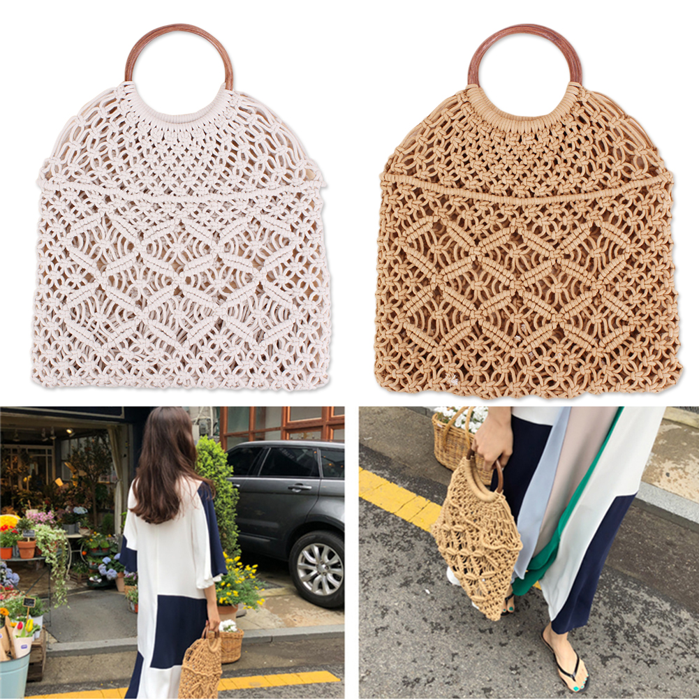 Rattan Cotton Rope Hollow Straw Woven Beach Bag Without Lining Storage Bag Fashion Women's Totes Fashion Shoulder Bags