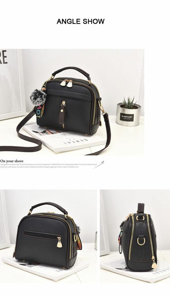 Fashion Women Handbag PU Leather Women Messenger Bags With Ball