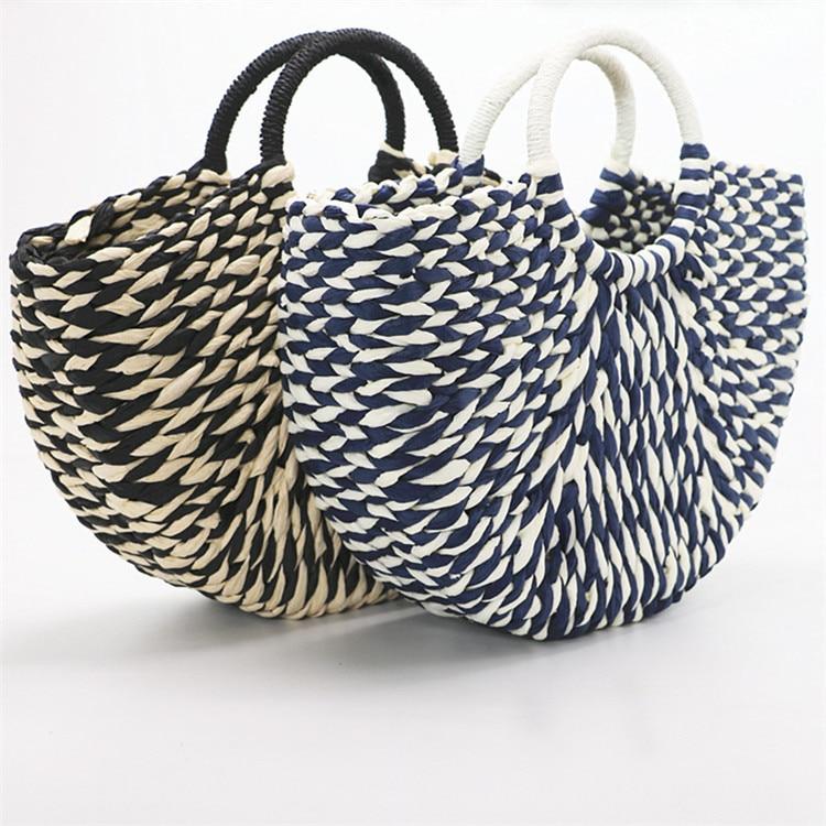 2018 New Women round bucket semicircle straw bag handmade net color woven basket rattan handbag