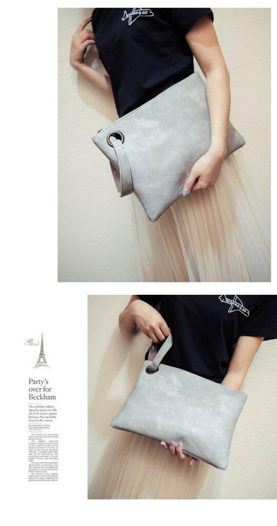 Fashion Solid Handbag Women's Clutch Bag Leather Women Envelope Bag Zipper Evening Bag Female Clutches Handbag Torebki Damskie