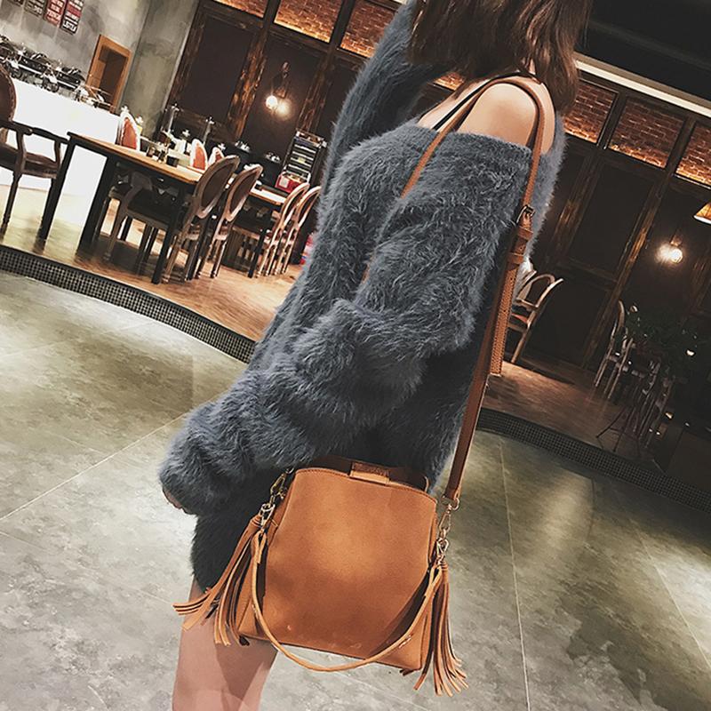 2019 Fashion Scrub Women Bucket Bag Vintage Tassel Messenger Bag High Quality